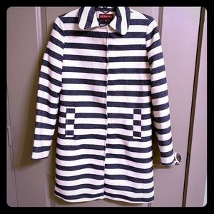 Blue and white striped lightweight trenchcoat